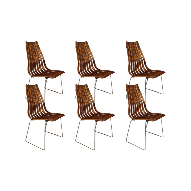 "Norwegian Modern Hans Brattrud ""Scandia"" Rosewood Dining Chairs For Sale"