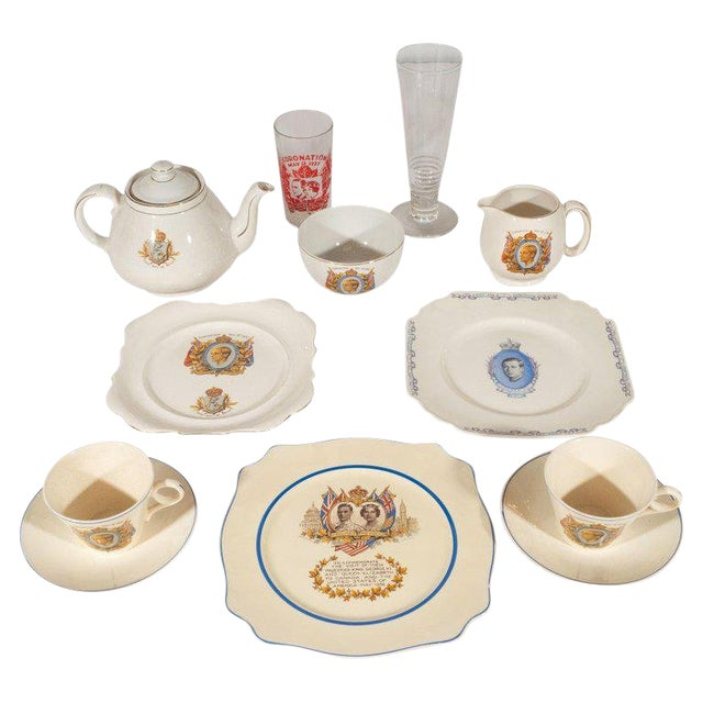 English Art Deco Royal Commemorative Porcelain Coronation Set For Sale