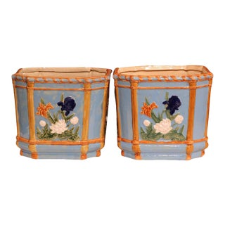 19th Century French Hand Painted Barbotine Cachepots - a Pair For Sale