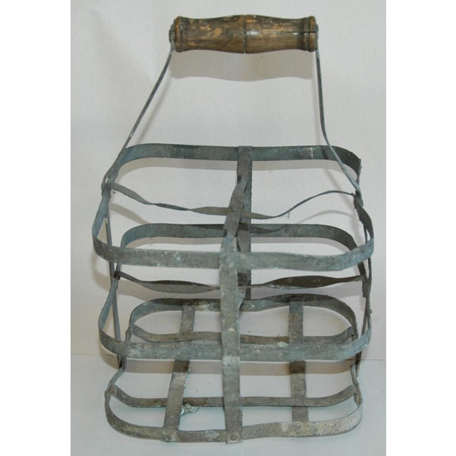 Gray 1930s French Gray Porte Bouteille Zinc 4-Bottle Wine Carrier For Sale - Image 8 of 8