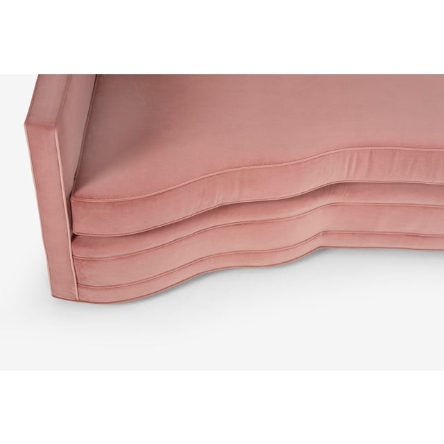 Textile 1950s Vintage Pink Ripple Sofa For Sale - Image 7 of 13