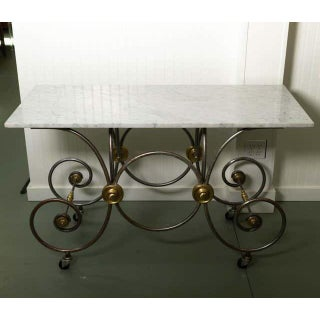 French Style, Marble Top Bakers Table With Brass and Metal Base Preview