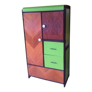 1950s Danish Modern Bright Green Detailed Closet/Armoire For Sale