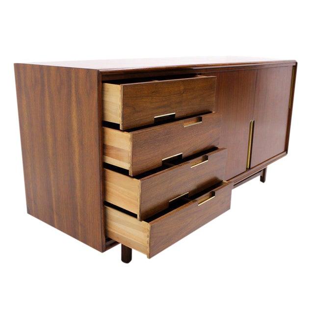 Walnut Danish Mid Century Modern Credenza w/ Sliding Doors 12 Drawers Brass Pull For Sale