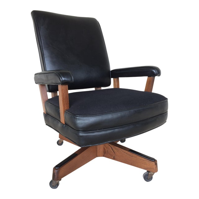 Vintage Hon Furniture Mid Century Modern Faux Leather Desk Chair