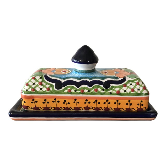 Talavera Mexican Pottery Covered Butter Dish For Sale