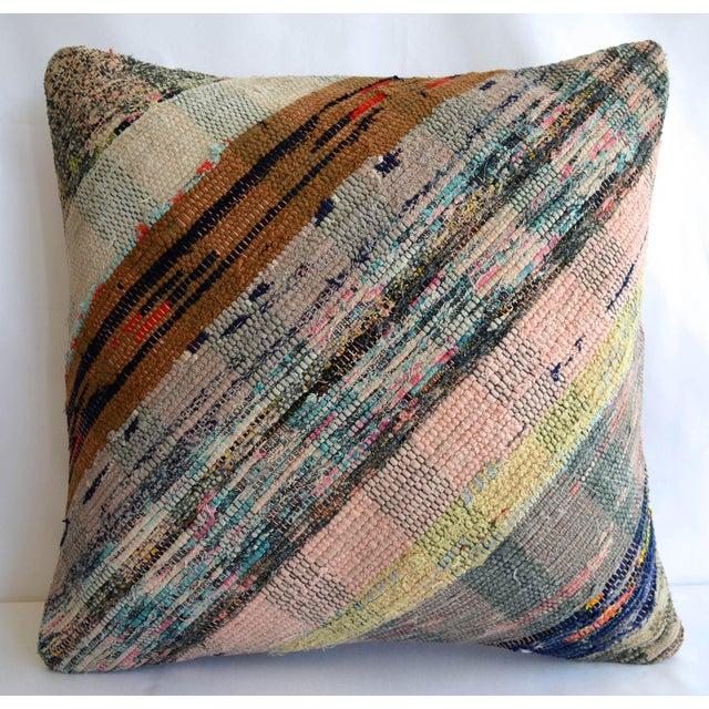 "16"" Pillow Cover Vintage Handmade Cotton Ragrug Kilim Sham Throw For Sale In New York - Image 6 of 6"