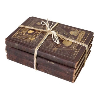 "1870 Leather-Bound & Gold Gilt ""Works of Shakspere"" Books - Set of 3 For Sale"