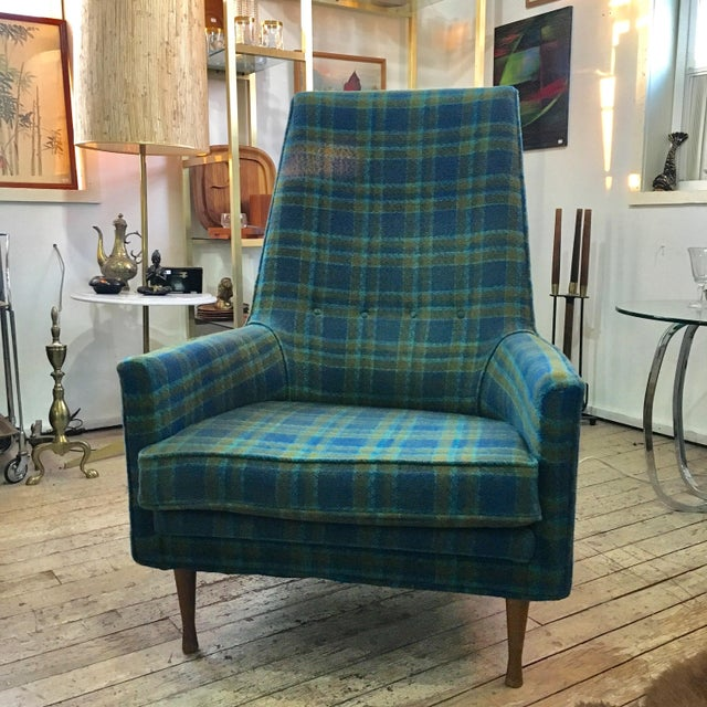 Mid-Century Modern Paul McCobb Symmetric Group Plaid Chair For Sale - Image 3 of 5