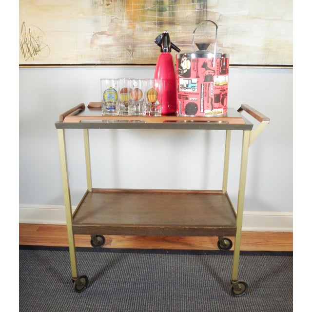 Mid-Century Wood Tray Bar Cart - Image 5 of 5