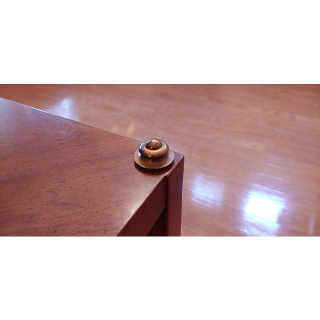 Vintage Henredon Wood + Brass End Tables - a Pair For Sale - Image 10 of 13