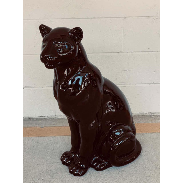 Pair of Italian Porcelain Seated Black Panthers For Sale - Image 10 of 12