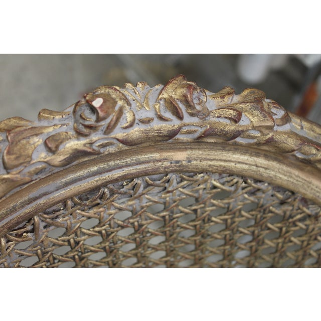 French Louis XVI Gilt Cane Caned Chairs - Set of 6 - Image 5 of 6