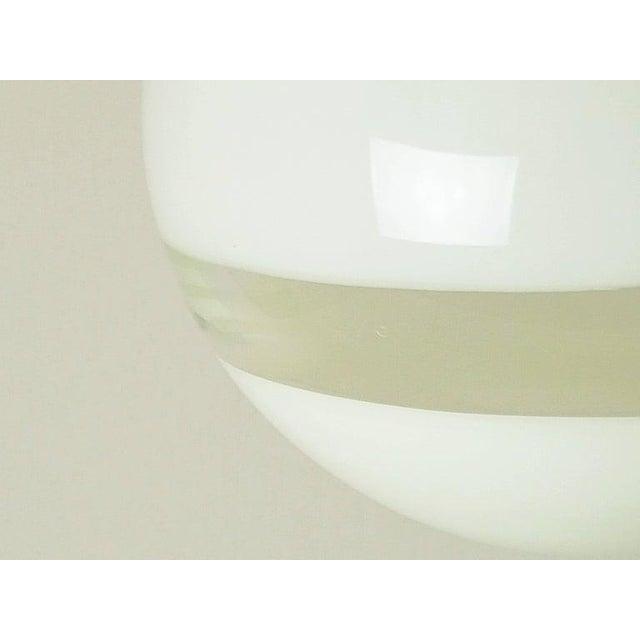 Leucos 1960s Mid Century Modern Italian White Murano Glass Pendant Light For Sale - Image 4 of 6