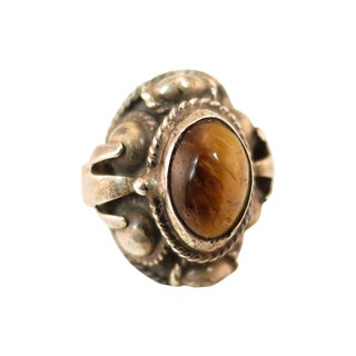 Mexican Sterling & Tiger's Eye Poison Ring, 1950s For Sale