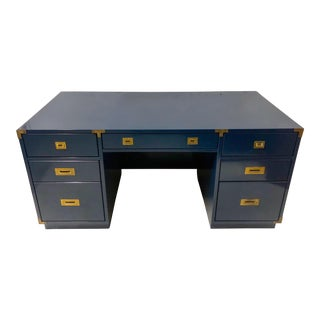 Navy Lacquered Campaign Style Desk For Sale