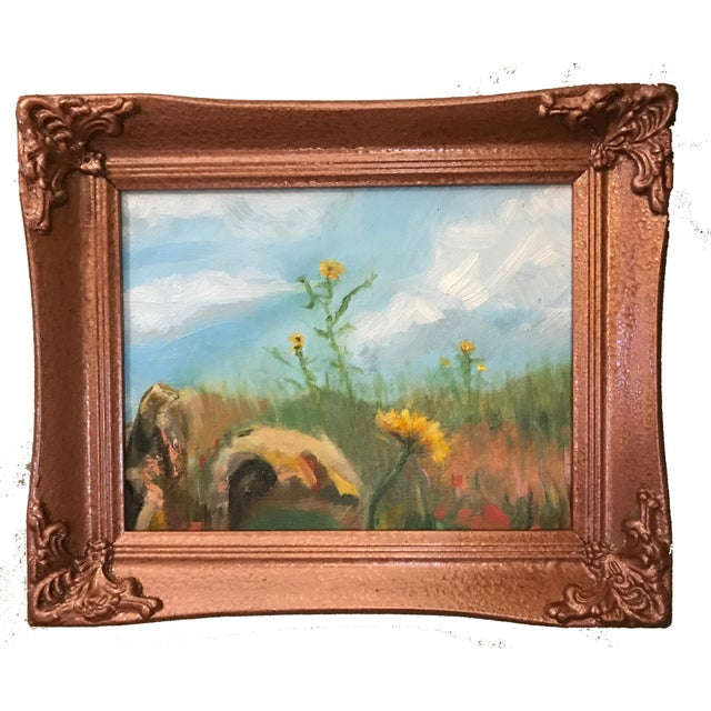 Wood Sunflowers in Field Original Framed Oil Painting For Sale - Image 7 of 7