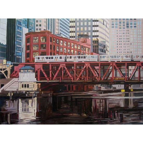 Contemporary Giclee Print - Bridge at Lake St - Image 2 of 2