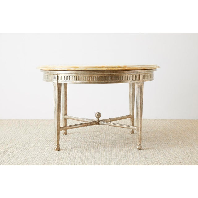 Neoclassical Style Silver Gilt Marble-Top Center Table For Sale - Image 9 of 13