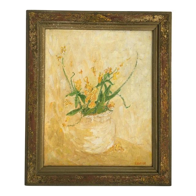 Mid-Century Floral Abstract Original Painting - Image 1 of 6