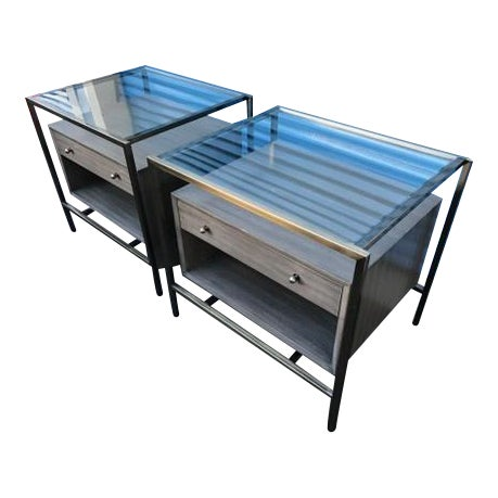 Michael Weiss Grey and Glass Nightstands - a Pair For Sale