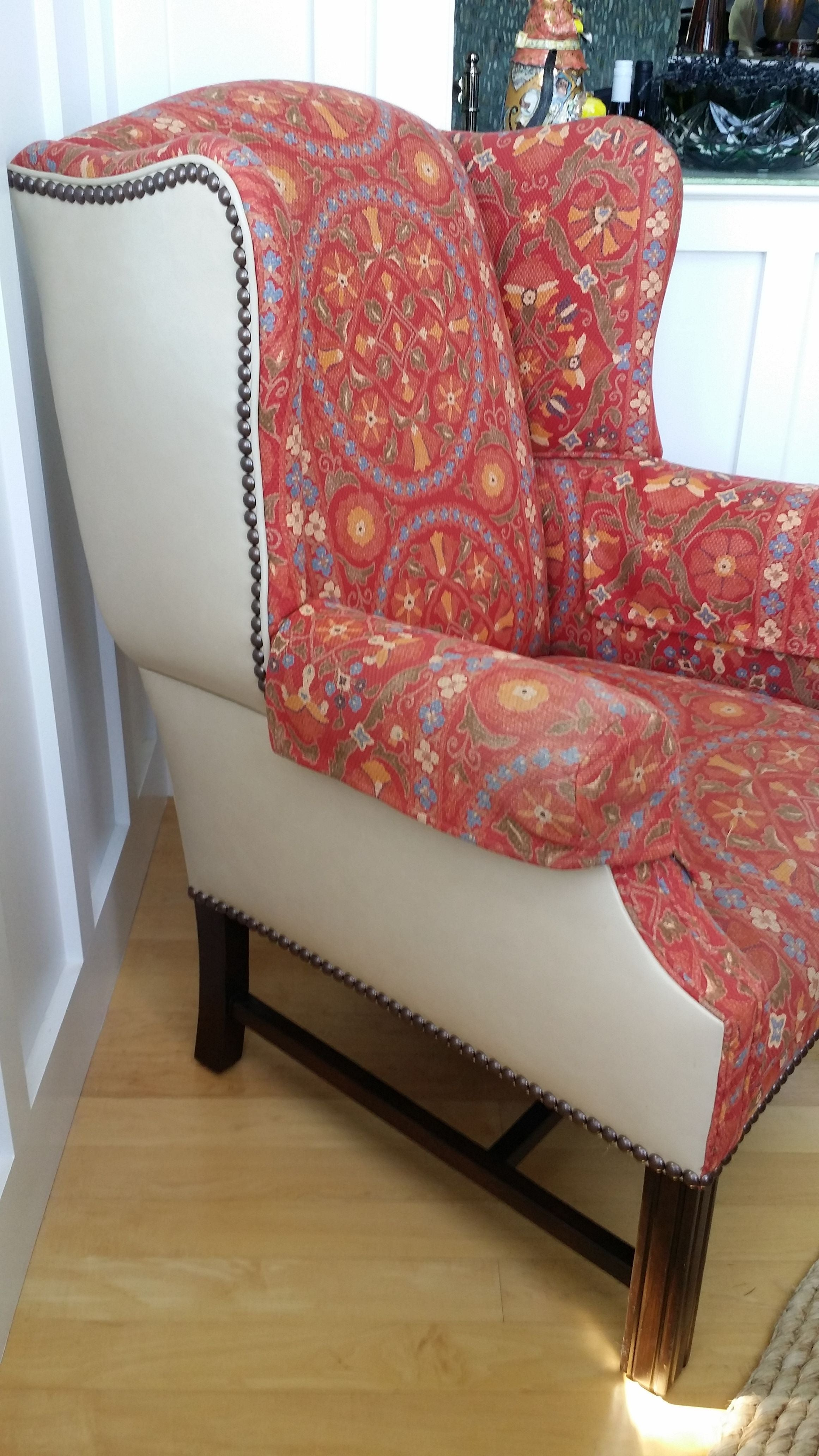 Attirant Coral Upholstered Wing Chair   Image 5 Of 8
