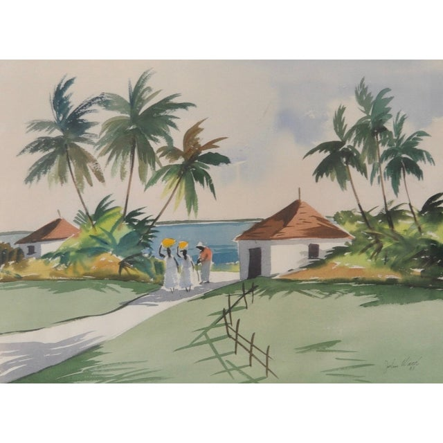 Hollywood Regency Mid-Century Caribbean Watercolor by John Ward For Sale - Image 3 of 6