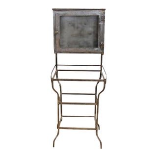 Antique American Medical Metal Cabinet For Sale