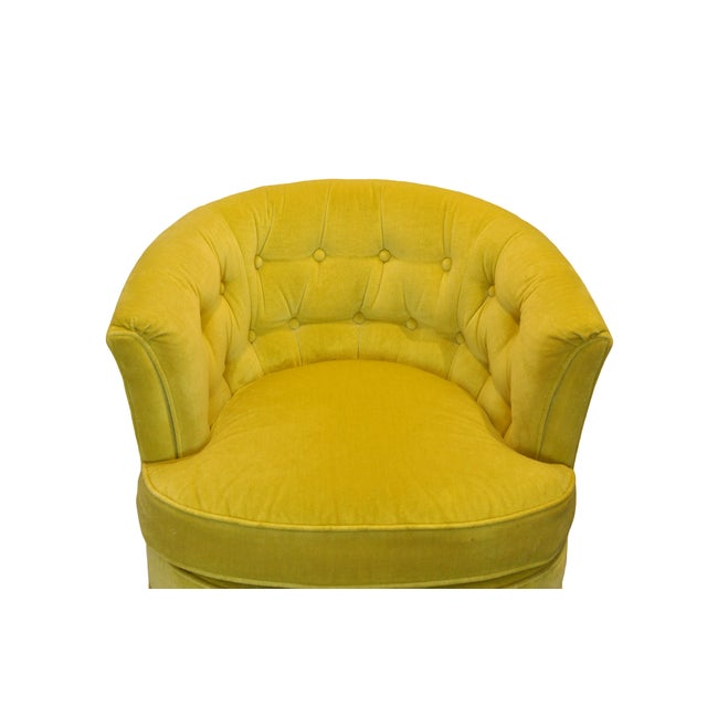 Heritage Yellow Velvet Swivel Chairs - A Pair For Sale - Image 4 of 7