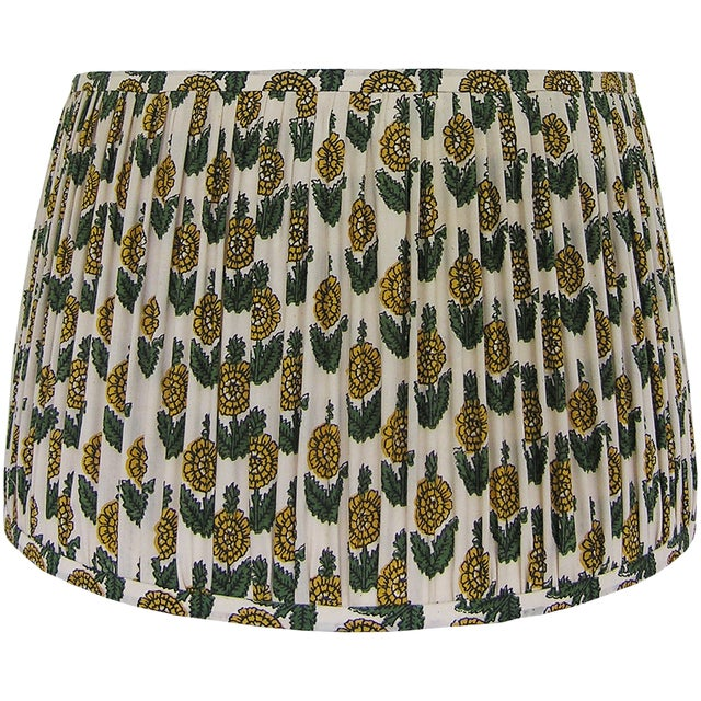 New, Made to Order, Floral Block Print Fabric, Small Pleated/Gathered Lamp Shade - Image 2 of 5