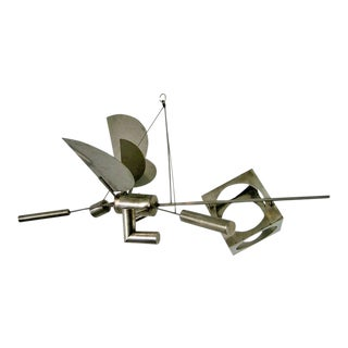 """High Speed Angel, Cube Included"" a Hanging Steel Sculpture by Peter Shire For Sale"
