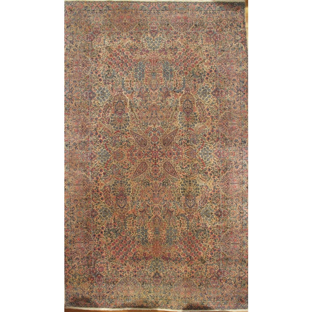 Persian Lavar Kerman Hand-knotted lamb's wool on cotton foundation. Hand-Spun Wool Rug Vegetable Dyed Mint Condition This...