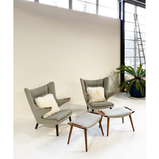 Important Pair of Hans Wegner for a.p. Stolen Papa Bear Chairs With Ottomans For Sale - Image 13 of 13