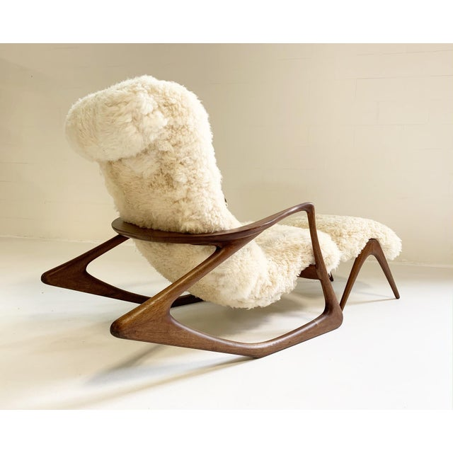 Mid-Century Modern Vladimir Kagan Sculpted Rocking Chair and Ottoman in California Sheepskin For Sale - Image 3 of 9