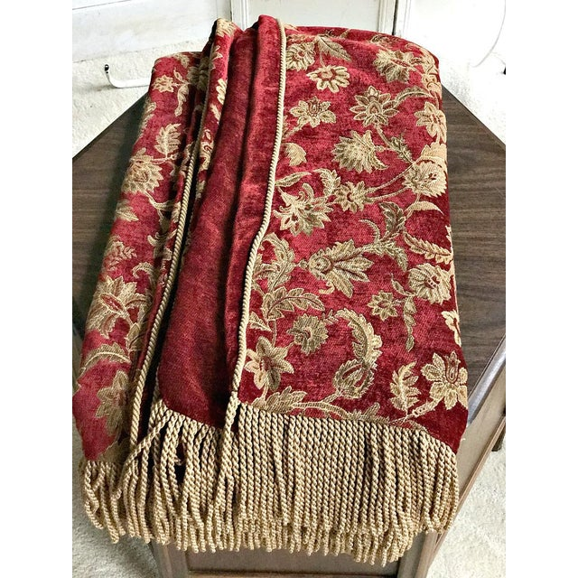 Velvet Floral Red and Gold Throw - Image 2 of 8