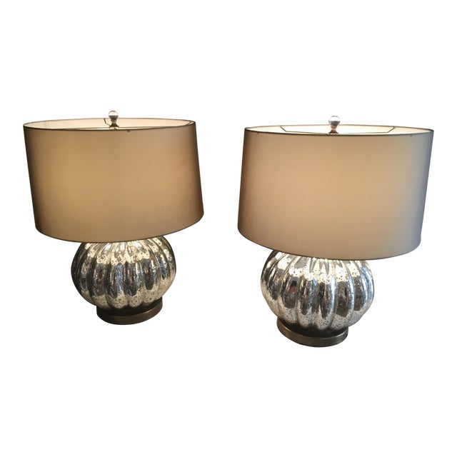 Pair of Pumpkin Shaped Mercury Glass Lamps For Sale