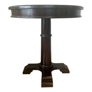 Round Espresso Finish Pedestal Side Table For Sale