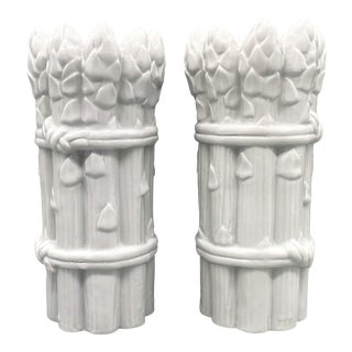 1970s White Asparagus Vegetable Candleholders - a Pair For Sale