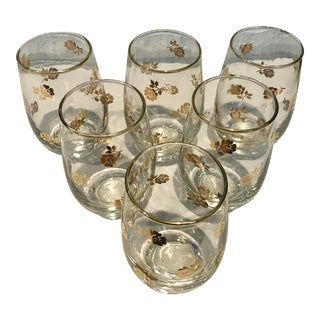 Vintage Libbey Gold Rose Weighted Tumblers - Set of 6 For Sale