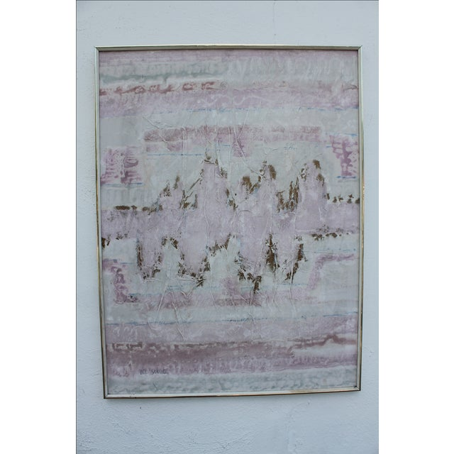 Lee Yoling Texture Oil and Watercolor Abstract Painting For Sale - Image 11 of 11