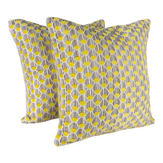 """18"""" S. Harris Synapse in Canary Pillows, Pair For Sale"""