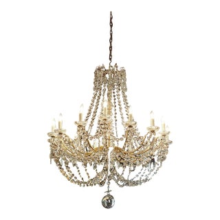 Antique French Crystal And Bronze 16-light Chandelier.