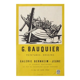 1955 Original French Exhibition Poster - G. Bauquier, Galerie Bernheim-Jeune For Sale