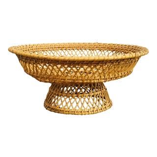 Vintage Pedestal Woven Basket