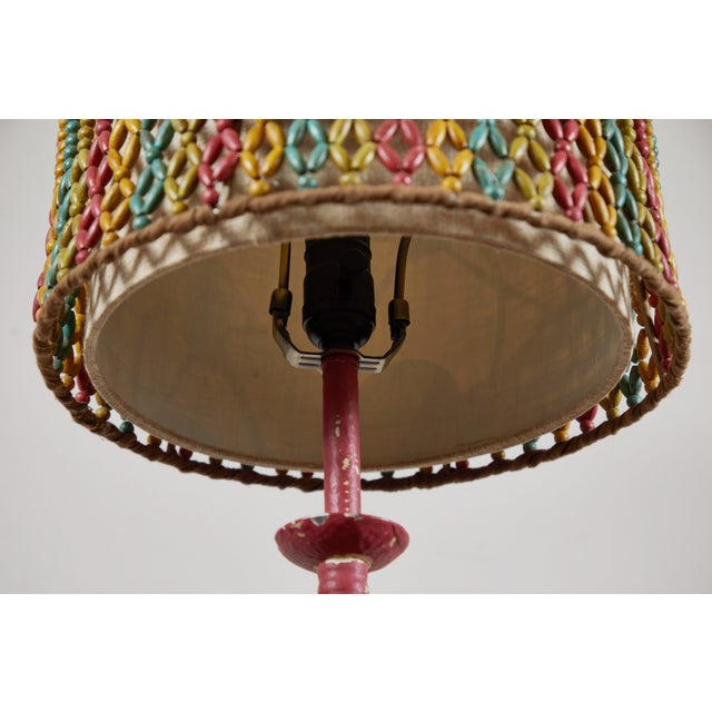 Vintage Lamp With Beaded Shade For Sale - Image 4 of 6