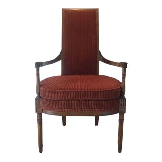 Mid Century French Louis XVI Directoire Style High Back Chair For Sale