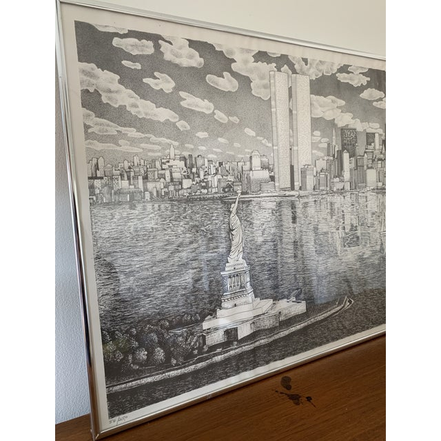 1980s Vintage New York City Pen and Ink Drawing For Sale - Image 5 of 8