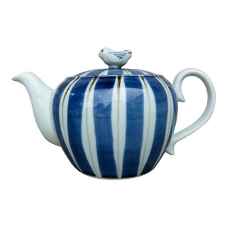 Hand Painted Blue & White Striped Teapot For Sale