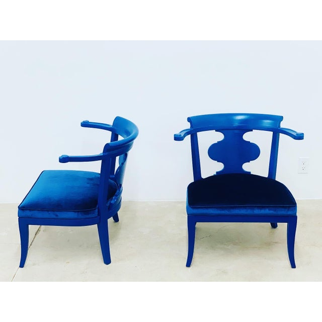 Mid Century Chinoiserie Style Horseshoe Chairs Redefined in Klein Blue - a Pair For Sale - Image 10 of 12