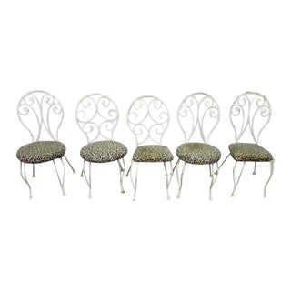 Early 20th Century Vintage White Iron Chairs- Set of 5 For Sale
